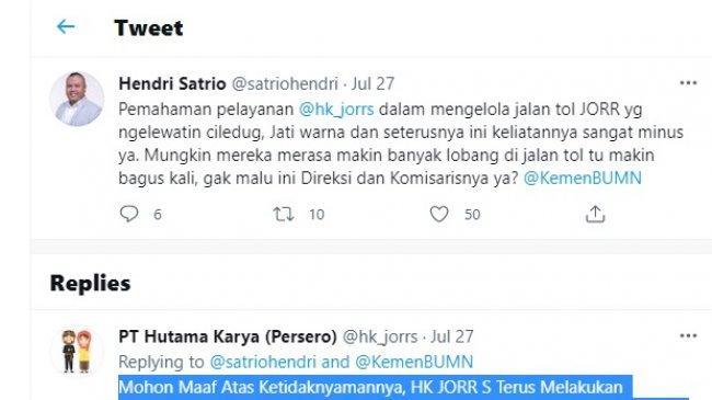 Ketika Pengamat Politik Hendri Satrio Protes Jalan Tol Berlubang di Twitter