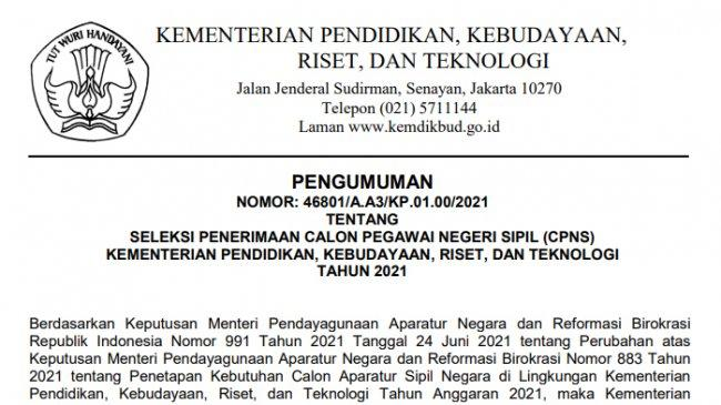 Tata Cara Daftar CPNS Kemendikbudristek 2021, Akses sscasn.bkn.go.id, Ini Syaratnya