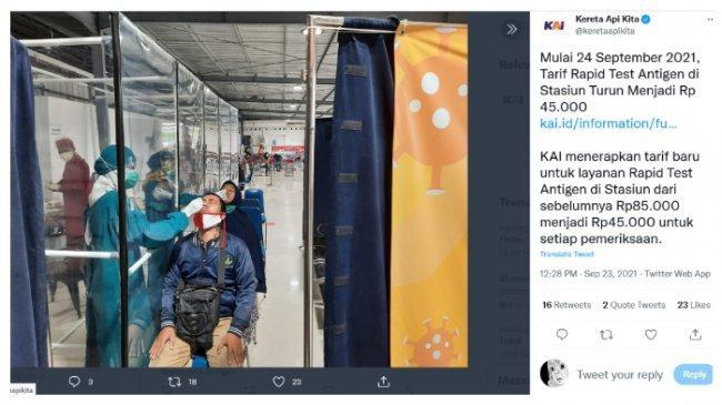 PT KAI Turunkan Harga Rapid Test di Stasiun Jadi Rp 45 Ribu, Lihat Daftarnya Berikut ini