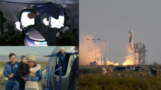 FOTO-FOTO Penerbangan Luar Angkasa Jeff Bezos, Jungkir Balik di Dalam Roket dengan Nol Gravitasi