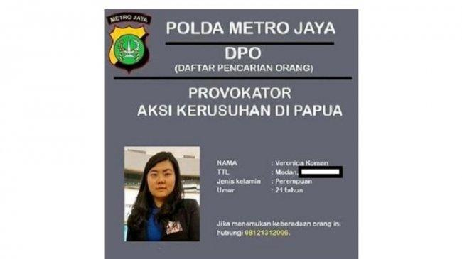 Jadi Buronan Polisi, Veronica Koman Ngaku Serahkan Langsung Data Kekerasan di Papua kepada Jokowi