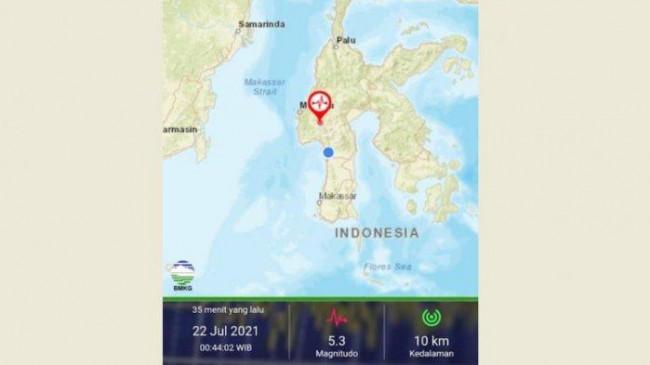 Gempa Magnitudo 5,3 Dirasakan Kuat di Kabupaten Mamasa, Namun Tak Menimbulkan Kepanikan Warga