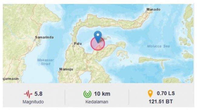 Gempa 5,8 SR Guncang Sulawesi Tengah, BMKG: Tidak Berpotensi Tsunami