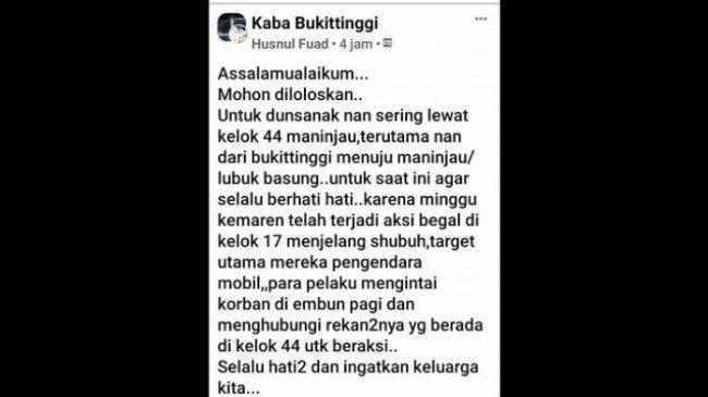 Viral di Media Sosial Kabar Aksi Begal di Kelok 44 Kabupaten Agam, Begini Penjelasan Polisi