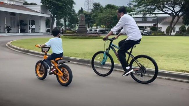 Kangen Cucu, Jokowi Berakhir Pekan Bersama Jan Ethes Sambil Naik Sepeda