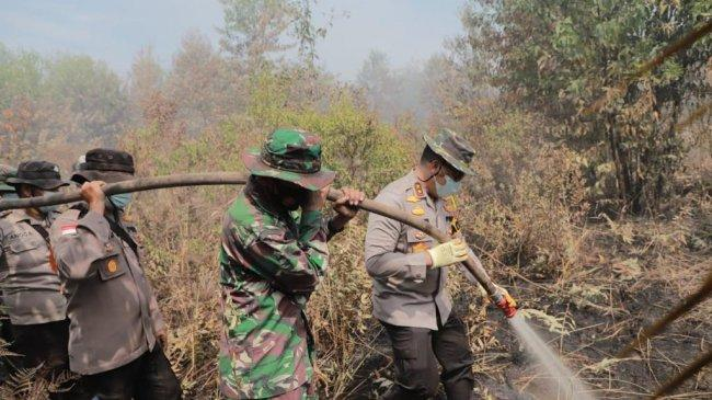 Kapolda Riau Ikut Padamkan Api Karhutla di Pulau Merbau dan Bengkalis