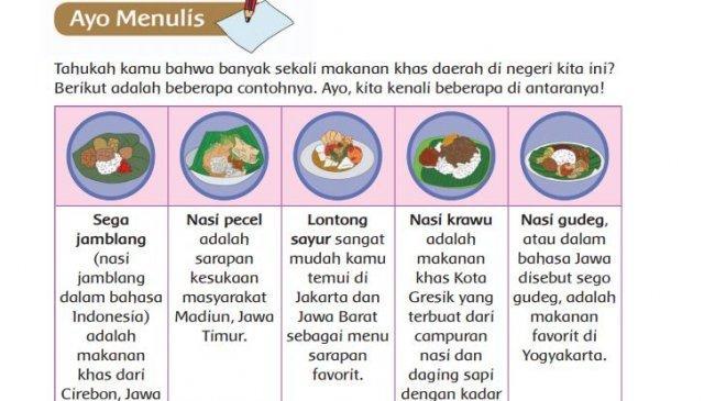 KUNCI Jawaban Kelas 4 SD Tema 1 Halaman 130 131 132 134 135 136 137 138: Makanan Tradisional