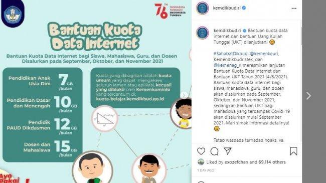 CEK Bantuan Kuota Internet Gratis yang Cair 11-15 Oktober 2021, Disalurkan ke 26,6 Juta Penerima