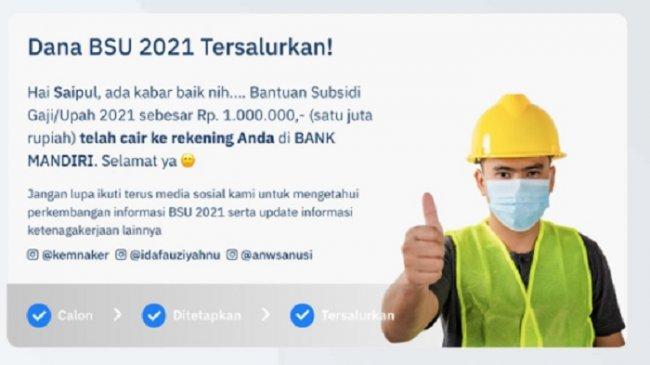 LOGIN bsu.kemnaker.go.id untuk Cek Status Penerima BLT Subsidi Gaji Rp 1 Juta Secara Online
