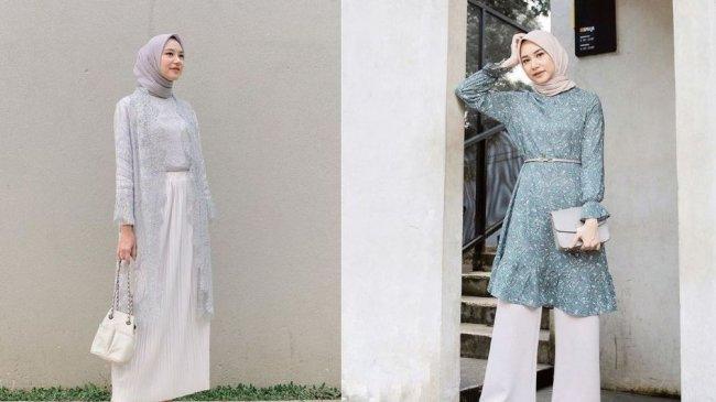 Intip Outfit Kondangan Malam Hari ala Bahjatina, Simple Pakai Hijab Segiempat!