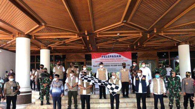 Kepala BNPB Lepas Mobil Masker untuk Mendukung Penguatan Protokol Kesehatan Wilayah Aceh