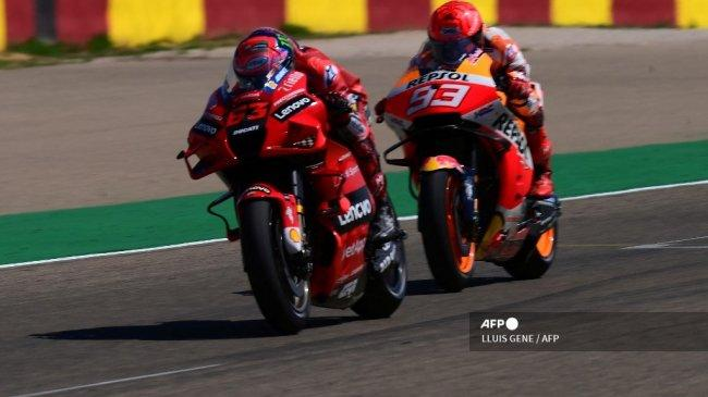 Kalah Duel di MotoGP Aragon 2021, Marc Marquez Samakan Kualitas Bagnaia dengan Dovizioso