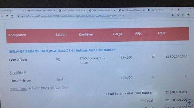 Berikut Anggaran Fantastis yang Ditemukan di RAPBD DKI Jakarta 2020, dari Lem Aibon hingga Komputer