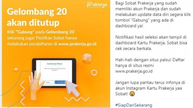 Pendaftaran Kartu Prakerja Gelombang 20 Ditutup Malam Ini, Login www.prakerja.go.id & Klik Gabung!
