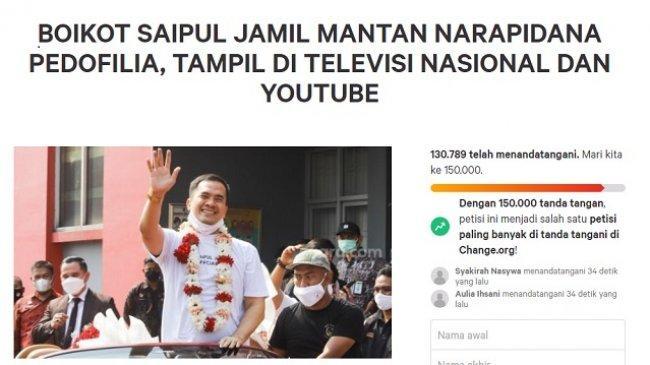 Petisi Boikot Saipul Jamil di TV & YouTube, Sehari Dibuat Kumpulkan Lebih dari 130 Ribu Tanda Tangan