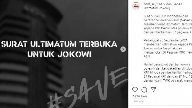 BEM SI Ultimatum Jokowi agar Angkat 56 Pegawai KPK, Ancam Gelar Aksi, Siapa Pemimpinnya?