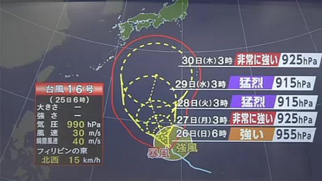 Waspada, Taifun No.16 Diperkirakan Memasuki Jepang 29 September 2021