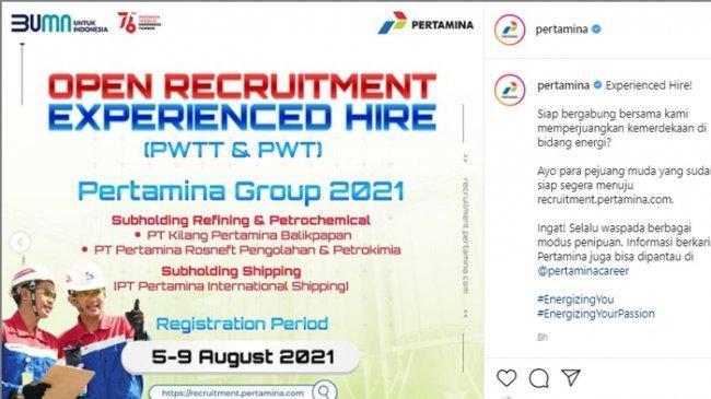 Cek Lowongan Kerja Pertamina, Dibuka hingga 9 Agustus 2021, Akses recruitment.pertamina.com
