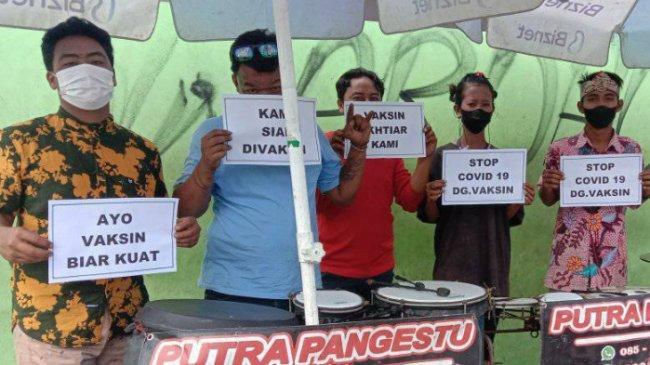 Seniman Jalanan di Klaten Ikut Kampanyekan Vaksinasi Covid-19