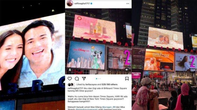 Ekspresi Raffi Ahmad Saat Tahu Wajahnya dan Nagita Slavina Terpampang di Times Square New York