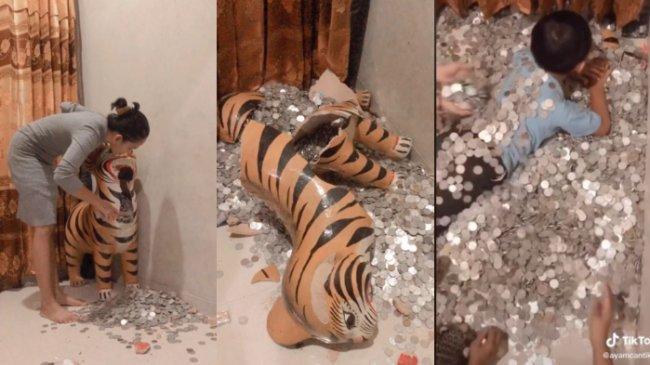 VIRAL Video Bongkar Celengan Koin Sebesar Patung Macan, Total Uang Terkumpul Rp 15 Juta