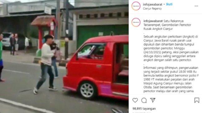 Viral Video Gerombolan Pemotor Rusak Angkot di Cianjur, Berawal dari Serempetan, 4 Orang Ditangkap