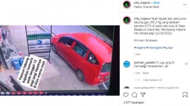 Viral Video Pencurian Tabung Gas Elpiji 3 Kg di Majene, Pelaku Kendarai Mobil saat Beraksi