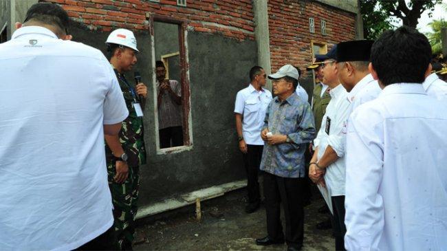 Wapres JK Tinjau Lokasi Rekonstruksi Pasca Gempa di Desa Teratak, Lombok Tengah