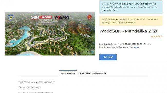 Cara Booking Tiket Nonton WorldSBK Indonesia 2021 Lewat Dyandra