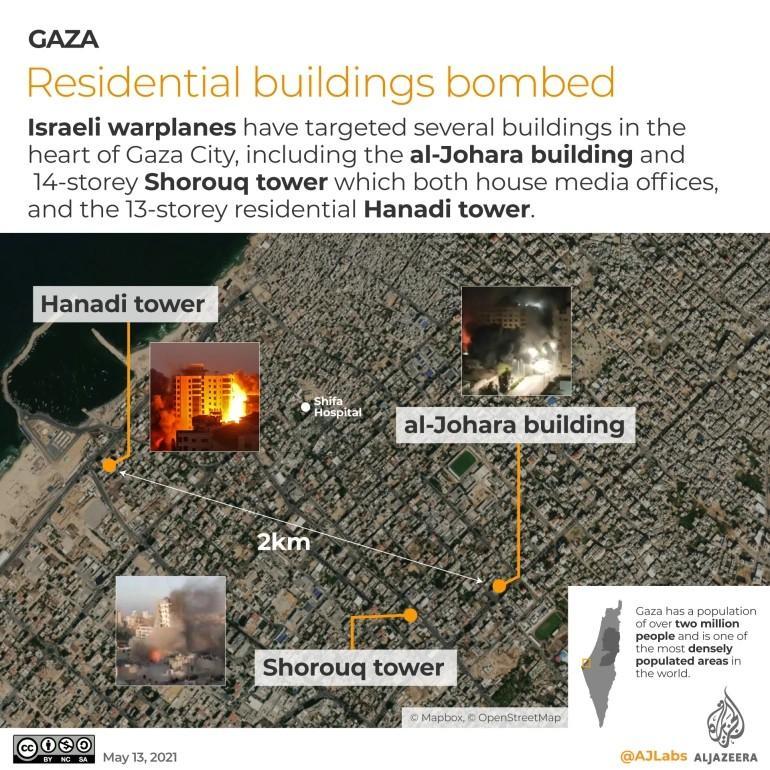 Serangan udara Israel setidaknya meratakan tiga bangunan tinggi di Jalur Gaza.