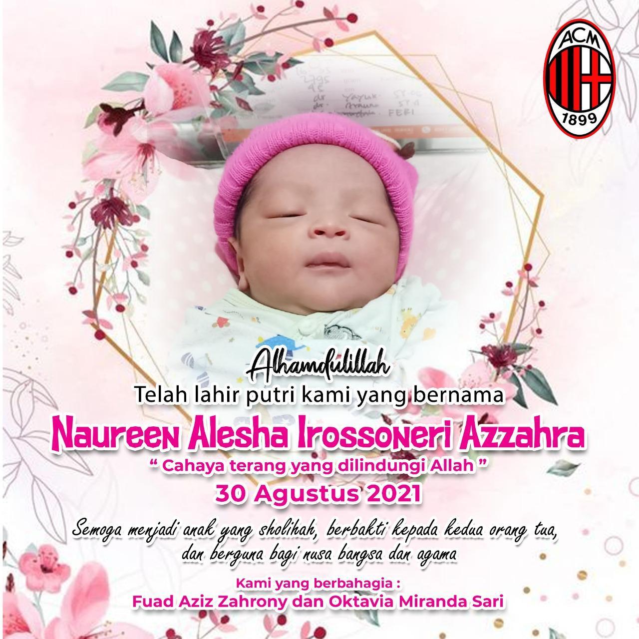 Desain banner kelahiran putri Fuad Aziz Zahrony (33) atau akrab disapa Aji juga memperlihatkan logo AC Milan.