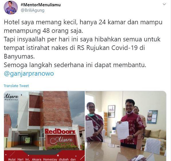 Homestay di Purwokerto dijadikan sebagai tempat istirahat tenaga medis yang menangani pasien corona (Twitter @BriliBintang).