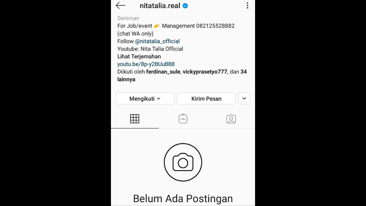 Akun Instagram Nita Thalia @nitatalia.real