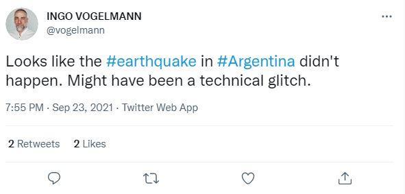 Akun Twitter @vogelman terkait gempa Argentina.
