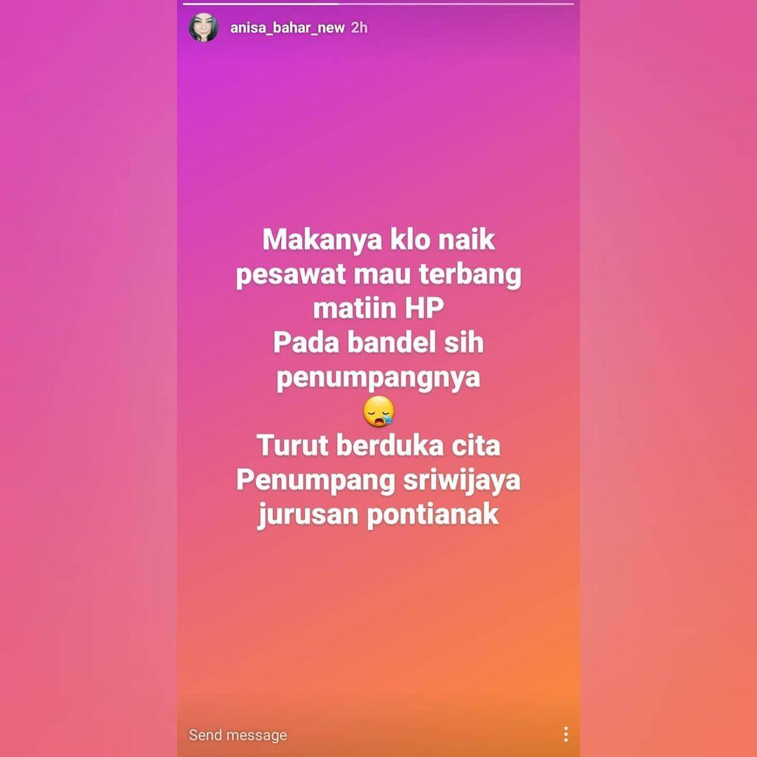 Komentar Anisa Bahar terkait kecelakaan jatuhnya pesawat Sriwijaya Air menuai kecaman dari warganet.