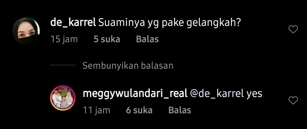 Balasan Meggy Wulandari di Instagram