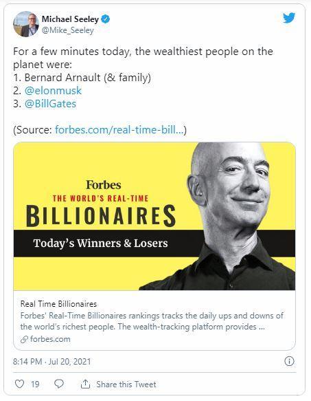 Bernard Arnault lah yang berada di bawah Jeff Bezos