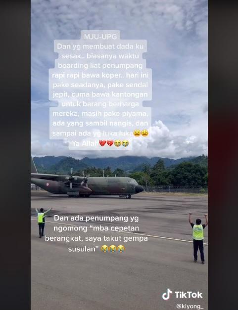 Cerita pramugari bawa bantuan untuk korban gempa di Mamuju viral di media sosial.