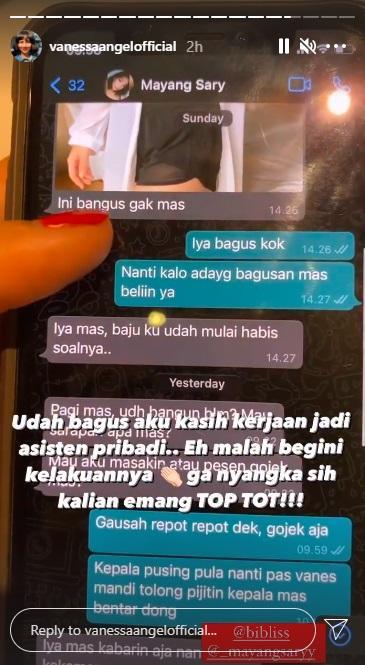 Chat WhatsApp diduga Bibi Ardiansyah dan Mayang Sary.