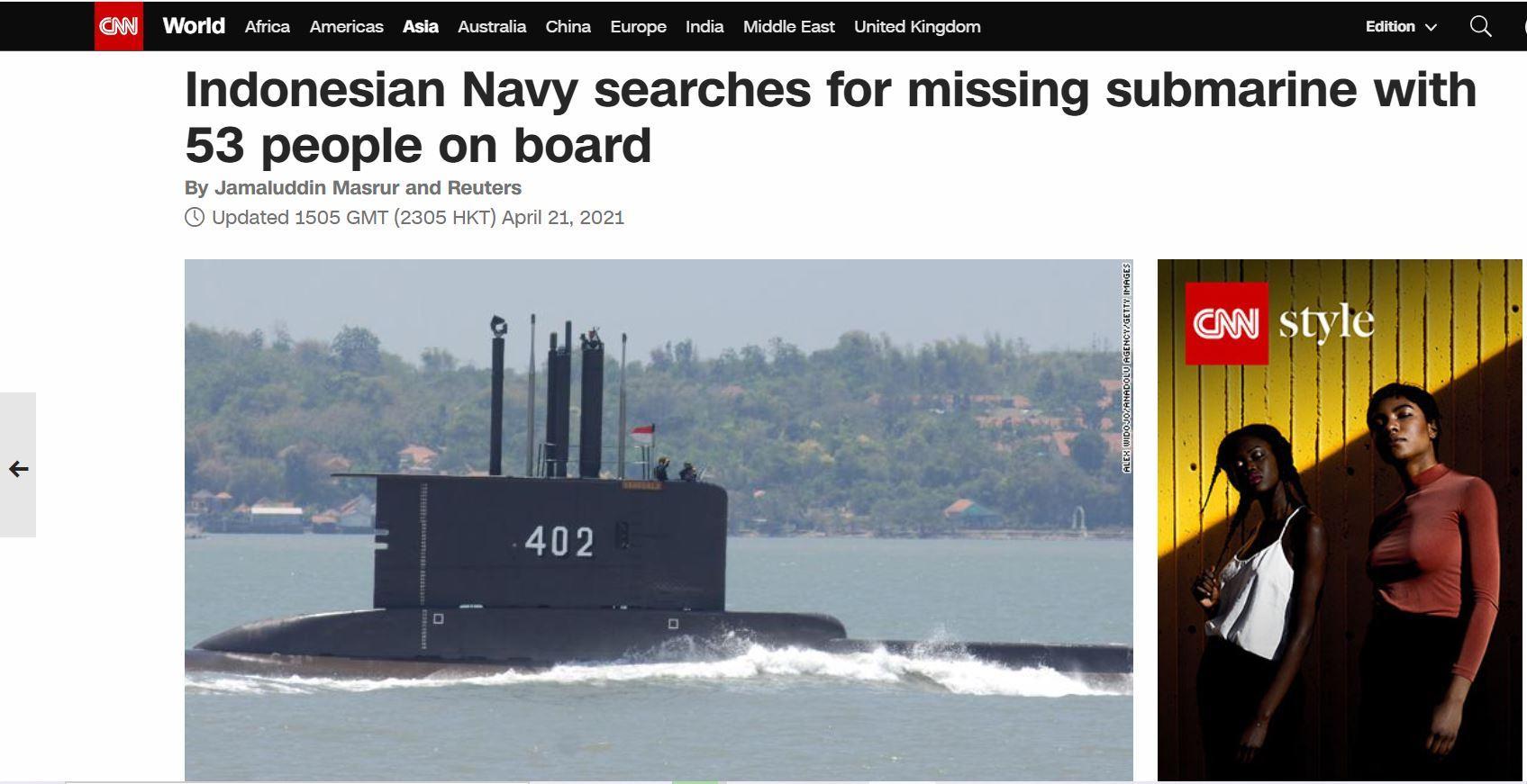 Media asing turut menyoroti insiden hilangnya kapal selam KRI Nanggala-402, yang hilang kontak pada Rabu (21/4/2021).