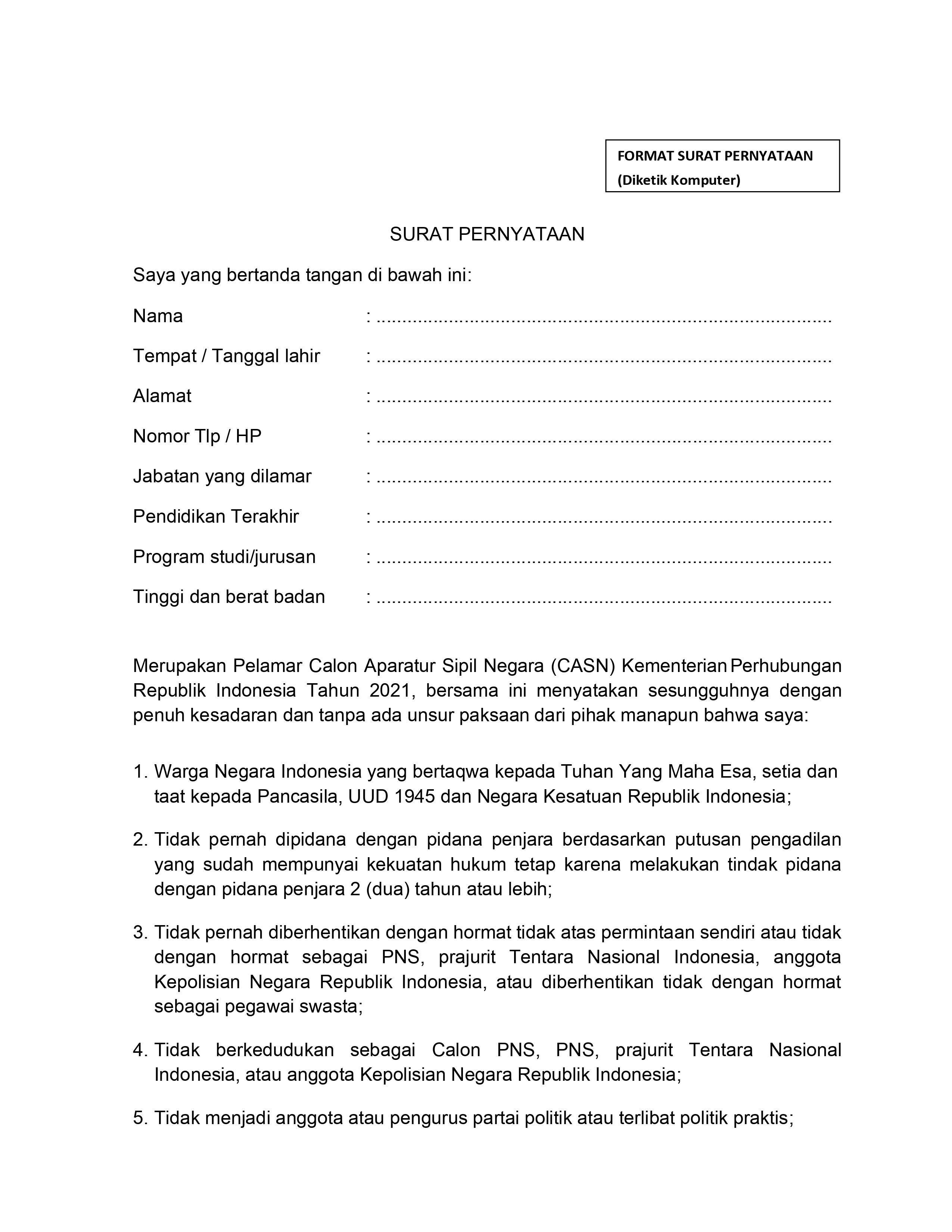 Contoh Surat Pernyataan CPNS Kemenhub halaman 1
