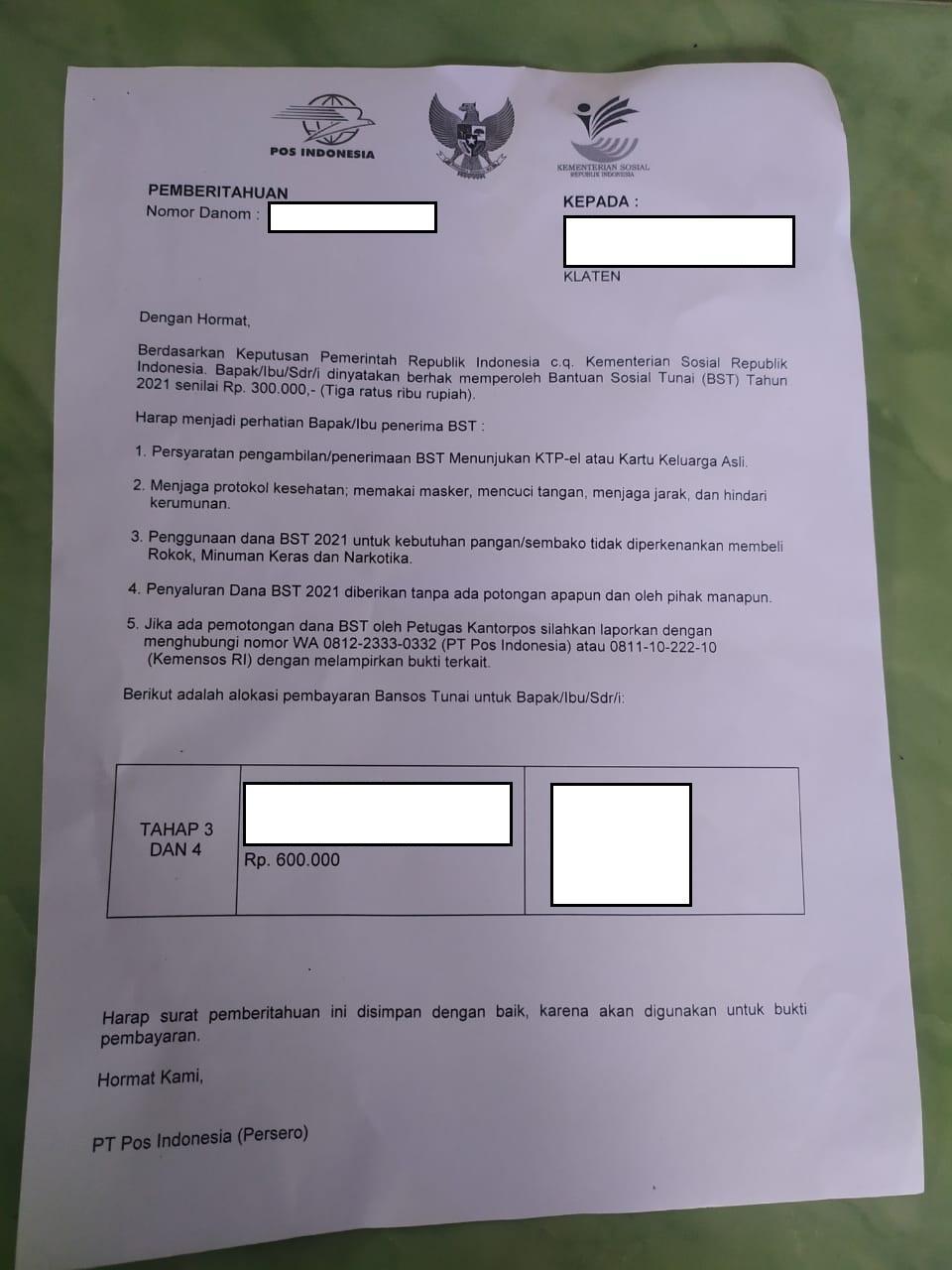 Surat undangan untuk pencairan bansos tunai Rp 300 ribu di kantor kelurahan.