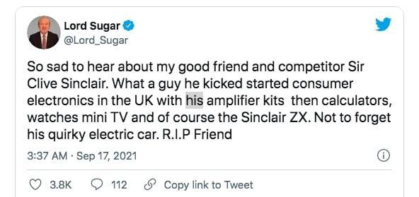 Cuitan dari Alan Sugar terkait meninggalnya Clive Sinclair.