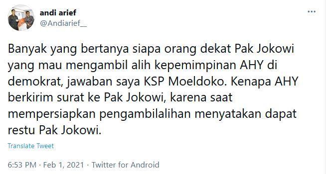 Cuitan akun Twitter Andi Arief, Senin (1/2/2021) malam.