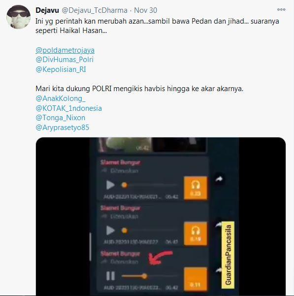 Rekaman layar berisi pesan suara instruksi pembuatan video azan dengan mengubah isi bacaan yang diunggah akun Twitter @Dejavu_TcDharma pada 30 November 2020.