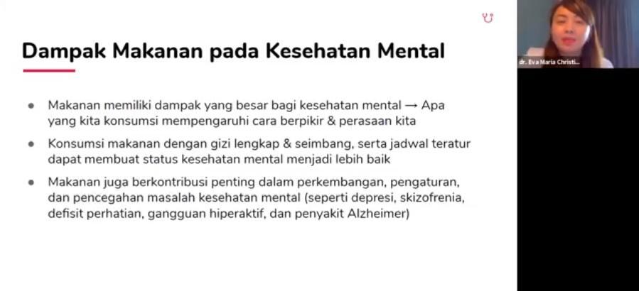 Dokter spesialis gizi klinik, Eva Maria Christine M Gizi SpGK dalam diskusi daring dengan topik 'Pendekatan Kesehatan Holistik Guna Mewujudkan Indonesia Sehat' pada Rabu (11/11/2020).