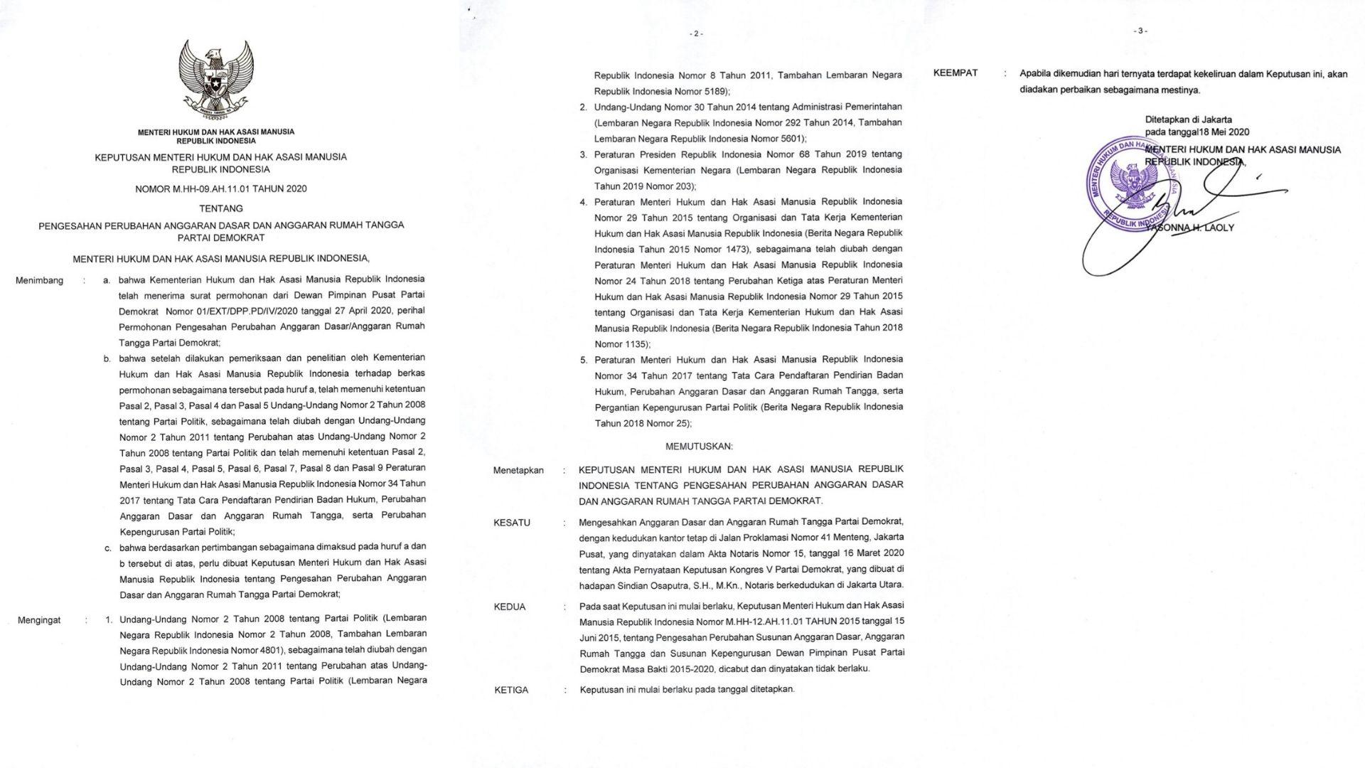 Dokumen AD/ART Partai Demokrat yang diunggah Annisa Pohan di akun Twitter pribadinya.