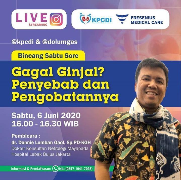 dr. Donnie Lumban Gaol, Sp.PD - KGH (Dokter Konsultan Nefrologi Mayapada Hospital Lebak Bulus Jakarta).