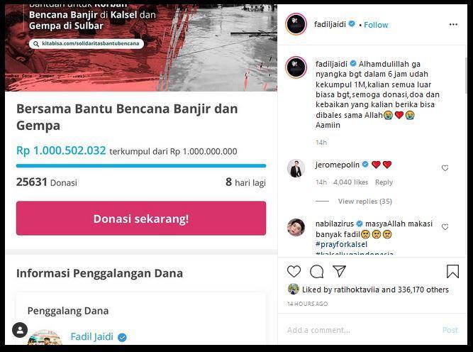 Fadil mengajak para pengikutnya di dunia maya untuk berdonasi.