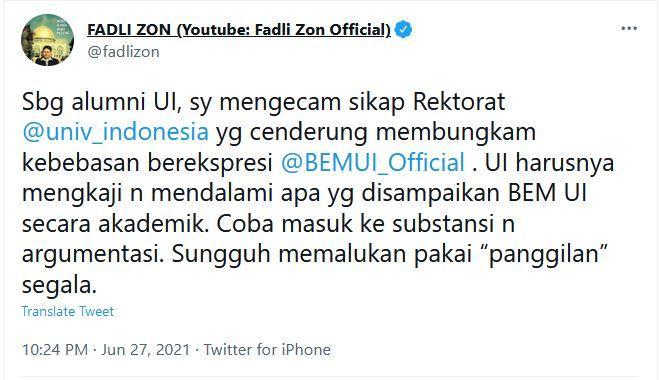 cuitan fadli zon di akun twitter miliknya, minggu (27/6/2021) malam.